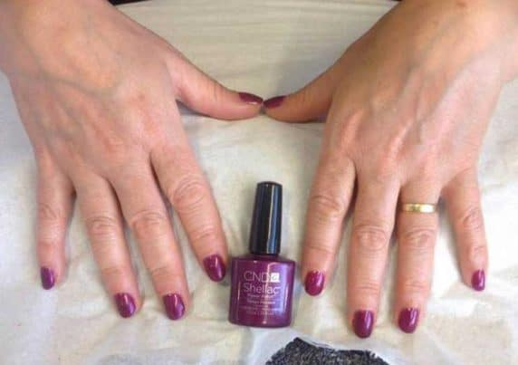 Purple-Styled CND Shellac Gel Nails at VL Aesthetics in Carlisle (Cumbria)