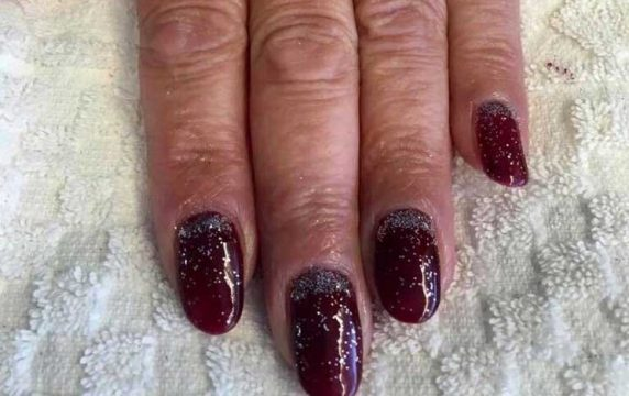 Dark Red Styled CND Shellac Gel Nails at VL Aesthetics in Carlisle (Cumbria)